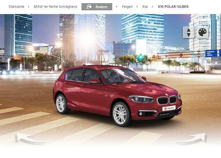 BMW 1er Schrägheck mit Rial X10 polar-silber