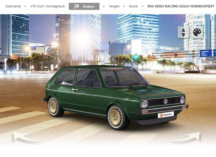 VW Golf 1 mit Ronal R50 Aero racing-gold-hornkopiert