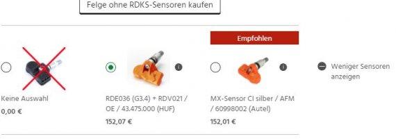 Auswahl passender RDKS-Sensoren im Warenkorb