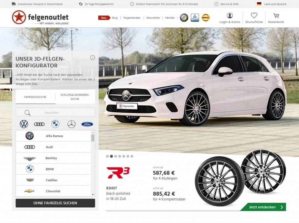 felgenoutlet Startseite mit Fahrzeugauswahl