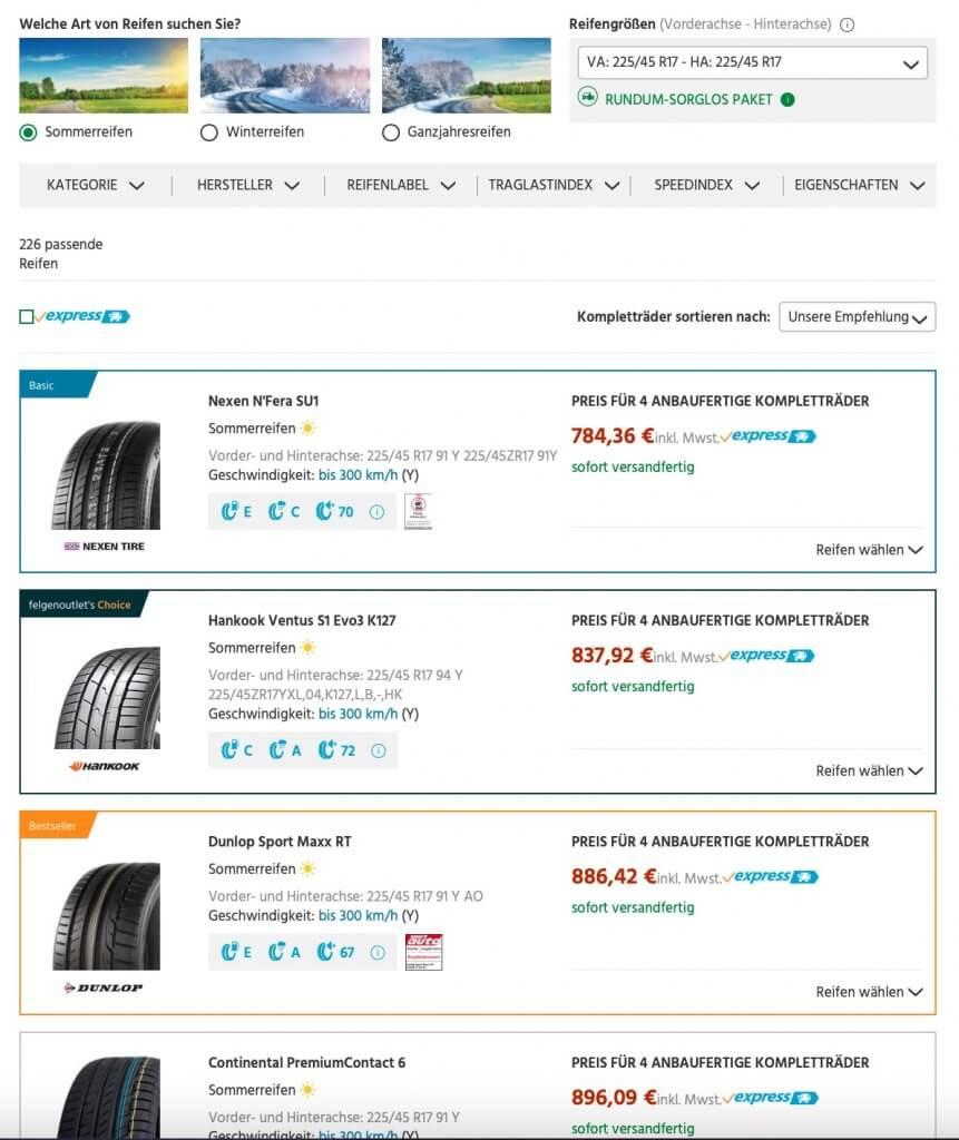 Filtermöglichkeiten bei der Reifenauswahl