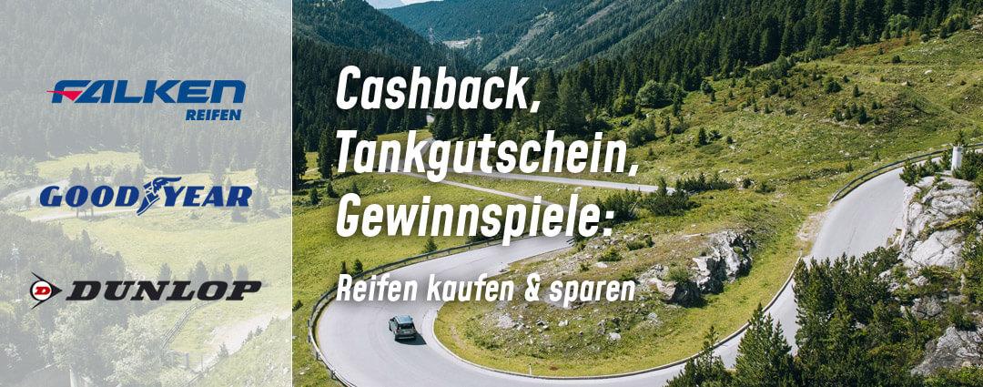 Reifenaktionen (Cashback, Tankgutschein, Gewinnspiel) von Falken, Dunlop und Goodyear vom 15.03.2021 bis 31.05.2021