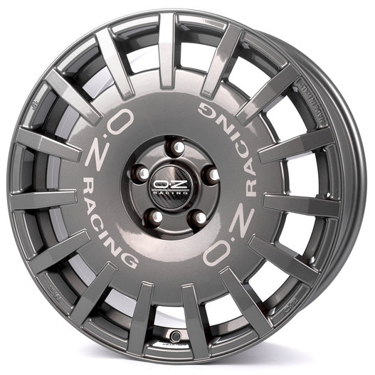 OZ Rally Racing Dark Graphite + Silver Lettering