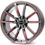 graphite spoke rim red polished