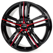 Ronal R57 Jetblack-Red Spoke